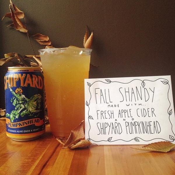 YUM! MT @RoxysGrilledChz: You know how we do. Fall Shandy w/ @ShipyardBrewing Pumpkin + apple cider. http://t.co/zASYYtEaeQ