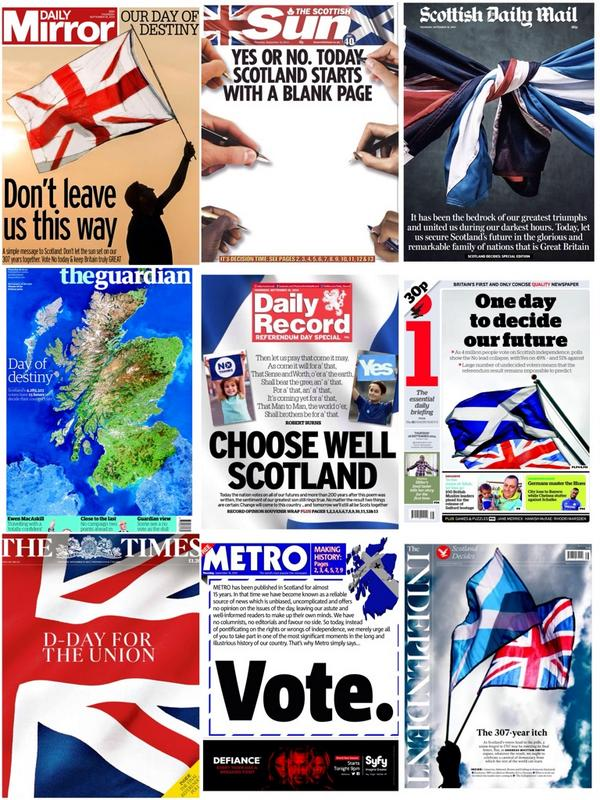Portadas de la prensa británica en un día histórico #indyref http://t.co/FEmy3N0Ar5 vía @suttonnick