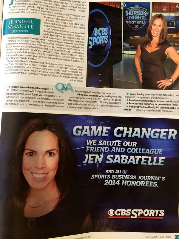 Look at our girl @CBSSportsGang Jen Sabatelle in SBJ!! Congrats. Cc @DeionSanders @TonyGonzalez88 @michaelstrahan http://t.co/Pf5tTTYWSS