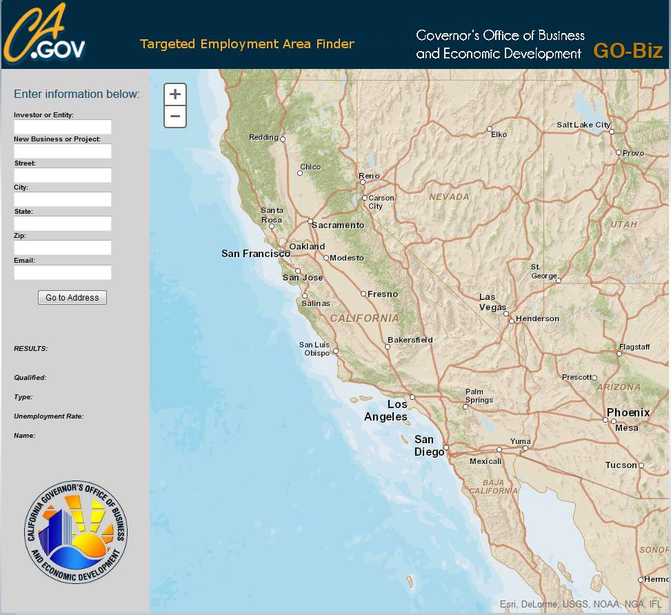 CA GO-Biz TEA Finder tool