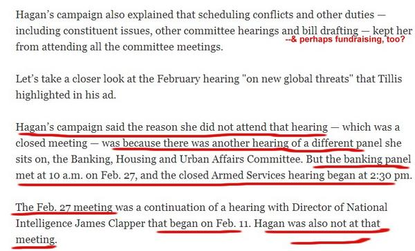 Reading @Politifact, Hagan indeed missed the Feb 27 ISIS briefing. WAS she fundraising? #ncsen #ncpol cc:@BrentScher http://t.co/eGayA4hdJC