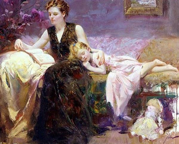 мама и дочка нарисованные картинки