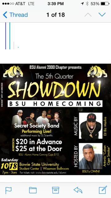 The 2000 Alumni Chapter from Bowie is Stepping it Up for Home Coming with @BizMarkie @SecretSocietyBM @djscientific http://t.co/Qyg3cf8IoK