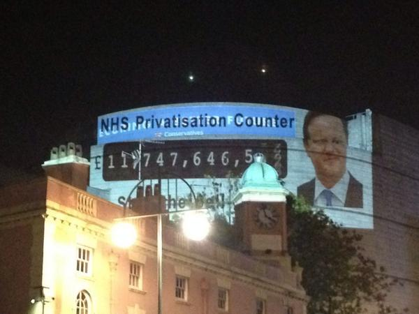 Will @David_Cameron stop selling the #NHS to the richest bidder? #RT @PeoplesNHS beamed this on #CPC14 last night http://t.co/OVEeNQR8Bd