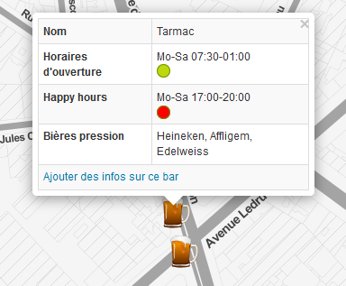 happy hours & opening hours dans OBM