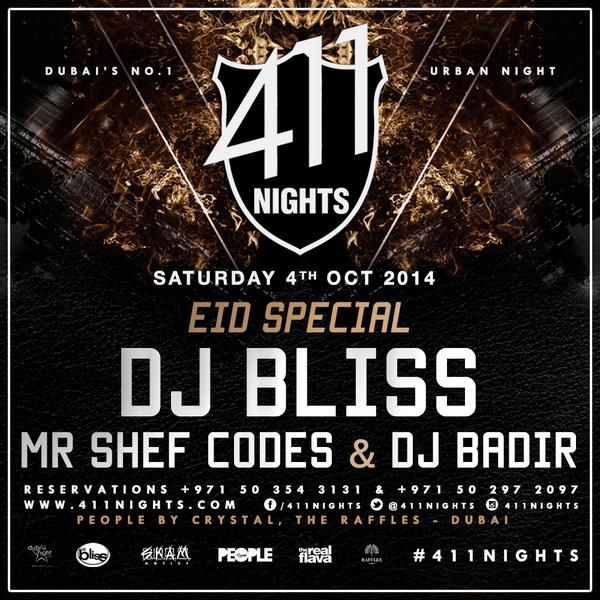 SATURDAY We are at @411nights for the best HipHop night in Dubai with @DJBLISS @MrShefCodes @DjBadir @PeoplebyCrystal http://t.co/aXsSZtzXC1