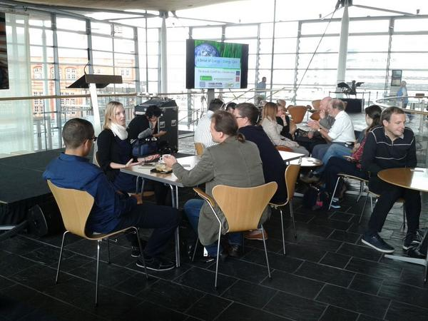 #asenseofenergy one group at the energy café discussing meat and sustainability http://t.co/dD9Vw5QoXa