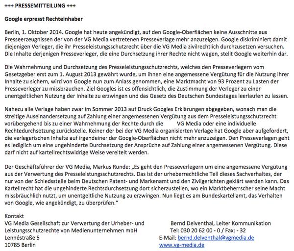 Reaktion von VG Media (Tweet von Stefan Niggemeier)