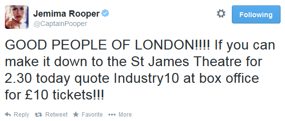RT @BreedersPlay: Our @CaptainPooper is RIGHT! Pop down to @St_JamesTheatre to see this afternoon's matinee to get £10 tickets 💃 👍 http://t…