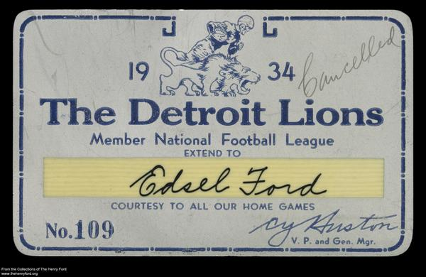 What's new in our collections? Football artifacts, like Edsel Ford's 1934 @lions season pass http://t.co/to6iYsxdN2 http://t.co/PCQSnNNev1