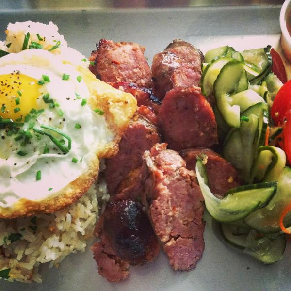 on special: house longganisa hot link, served #silog style, w/tomato salad & our pickles. http://t.co/FS1b3rgrMD