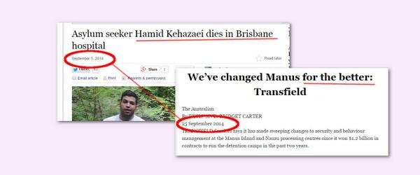 In the wake of #HamidKehazeia's death, #Transfield wages bizarre PR campaign about #Manus http://t.co/8fBhiQWl3A
