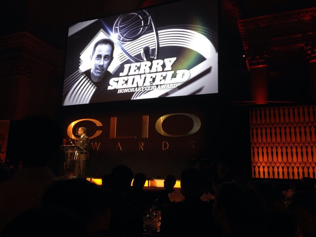 Thanks @JerrySeinfeld for the shout with @AmericanExpress at the @CLIOAwards! #CLIO55 http://t.co/gAKmpDAl6S