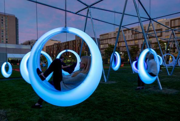Interactive swings that change colour as they move - take a look here: http://t.co/n4pTZt6gmp #design http://t.co/fXSIbv2TM1