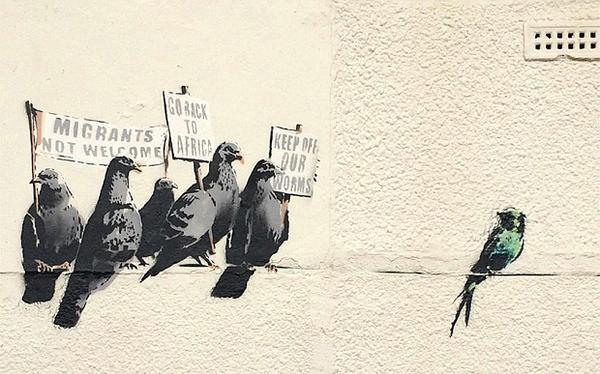 Are the Clacton bureaucrats humourless? How can this be considered racist? #Banksy http://t.co/Fqgqa3jEpv