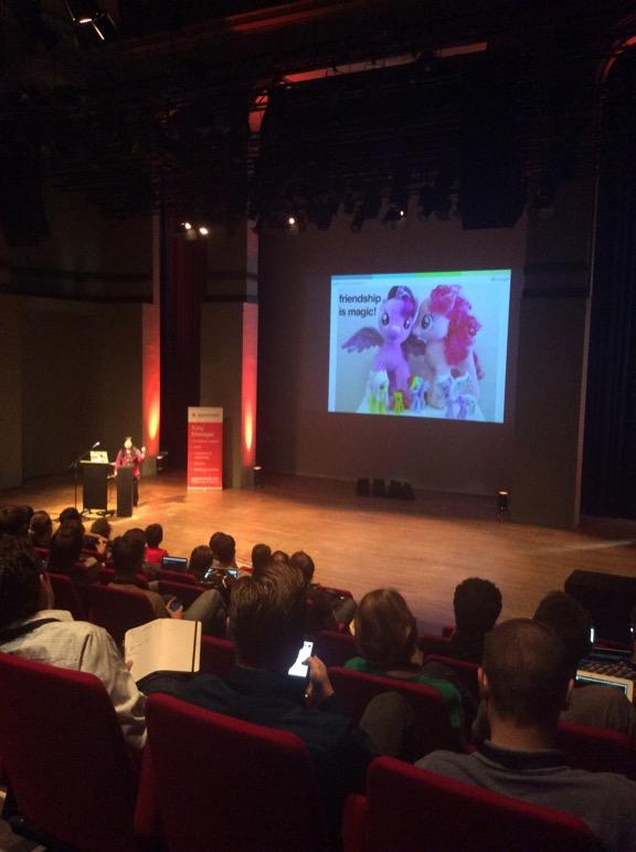 Pac Man, My Little Pony and Mr Burns. Loving @kwugirl @arrrrcamp talk. http://t.co/25IK6SCbV1