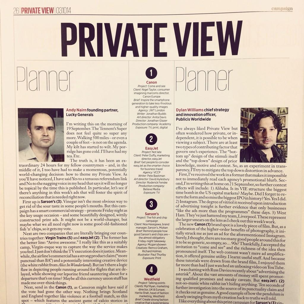 Publicis' Global Chief Strategy and Innovation Officer @dylanwil shares his Private View in @Campaignmag today http://t.co/iHEKwcEJYC