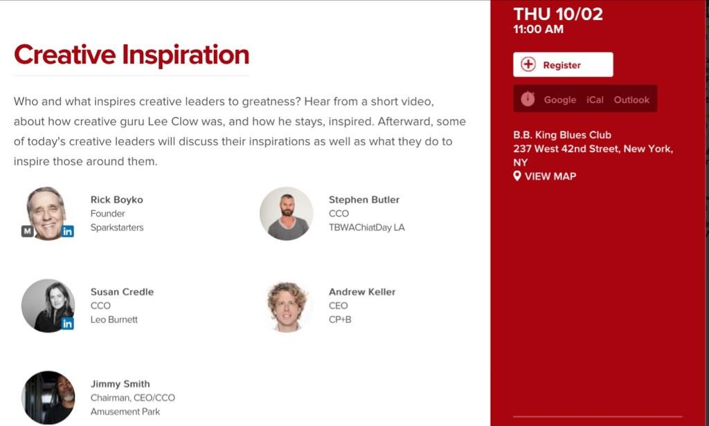 Today at #AWXI @TBWAChiatLA CCO Stephen Butler & docu on @_clow feature in 11am Creative Inspiration at BB Kings http://t.co/f16MPbCVHR