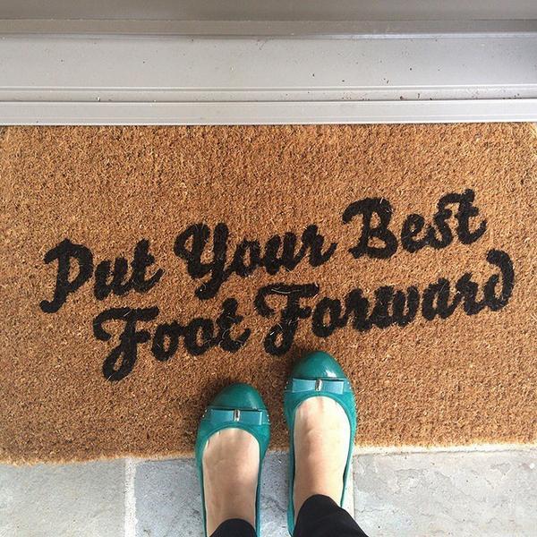 The perfect daily reminder! How adorable is @katleen_bean's new doormat from @casadotcom... http://t.co/MQ1u0xWExK http://t.co/l5CK94Nbqs