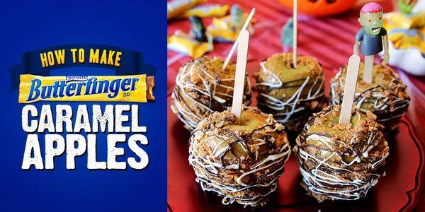 Halloween-inspired Butterfinger Caramel Apples for the win! http://t.co/LkYRpsfTTa