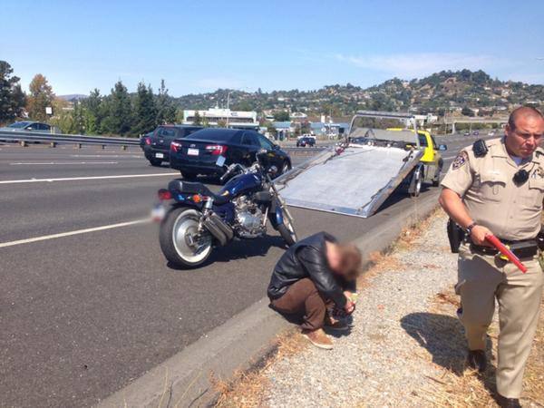 """If you were one of MANY people who called in the motorcyclist doing """"stunts"""" on 101 on 9/19 or 9/20: we got him: http://t.co/UNCrbFjYNU"""