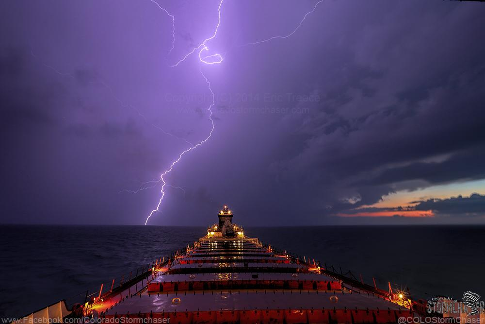 Lightning near Sleeping Bear Dunes on Lake Michigan this evening by Eric Treece