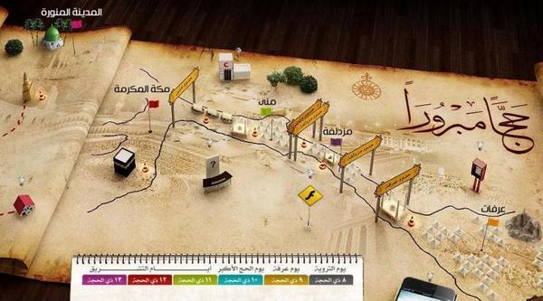 خريطة متحركة تشرح كيفية أداء مناسك الحج بالتفصيل