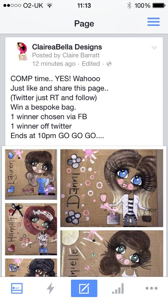 One winner on FB One winner on Twitter...... #ClaireaBella comp time.... Xx http://t.co/uRhikpGTaT