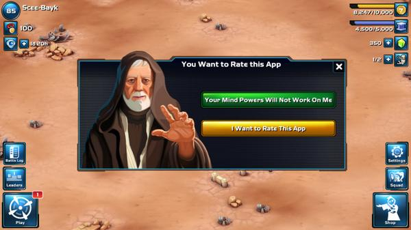 "Gotta give Star Wars: Commander credit for having the greatest ""rate this app"" prompt in the galaxy... http://t.co/jWiduXkXjm"