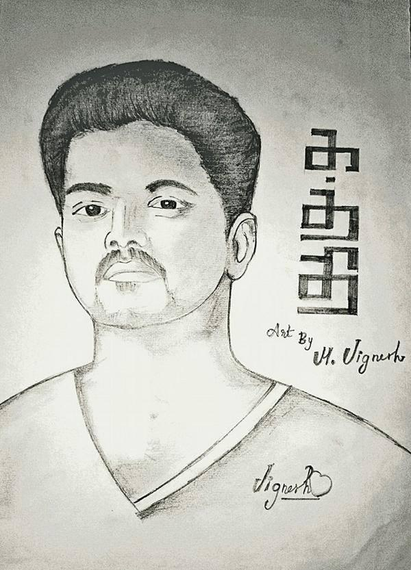 Snapshots Kid On Twitter Kaththi Pencil Drawing By Fan