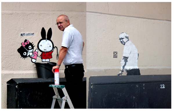 """""""Graffiti Removal Guy Comes Back to Discover Image of Himself in the Same Spot."""" http://t.co/A9DuNNTJY9 http://t.co/8zLNXTVZWd"""