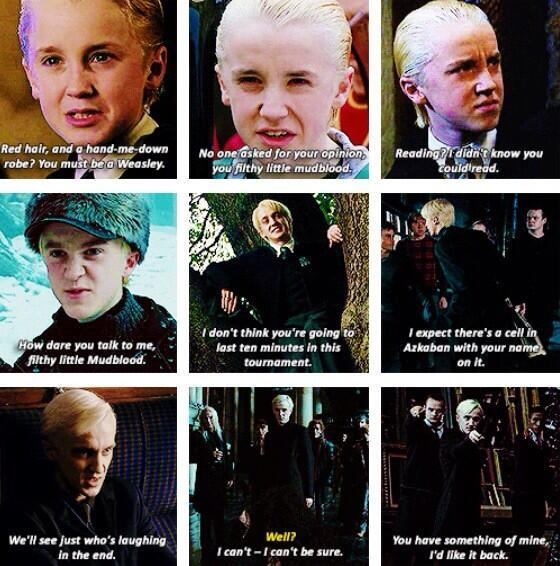 harry potter world on draco malfoy quotes