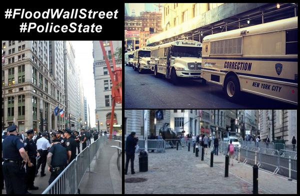 This Is What A #PoliceState Looks Like ~ Wall St & Zuccotti Barricaded,  #DeathOfFirstAmendment ~ #FloodWallStreet ~ http://t.co/GkJfGPumoN