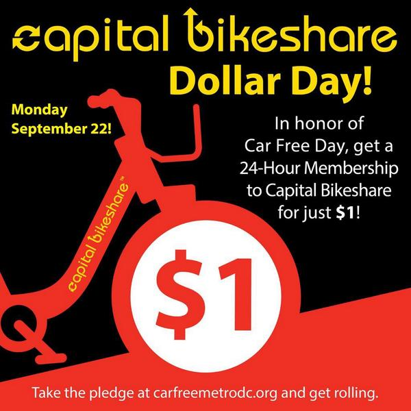 Today, from now until 11:59p, you can get a 24 hour membership at any station for just $1. Happy @CarFreeMetroDC day! http://t.co/usgF9wV9mA