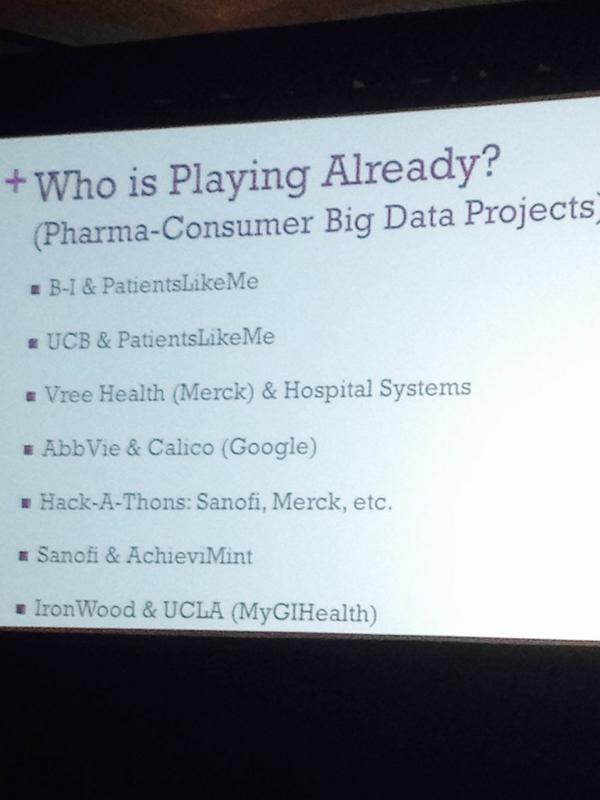 """@Lygeia: Lots of pharma companies already playing in the Big Data-consumer space #health2con http://t.co/m1hbBcaYI9"" better late than never"