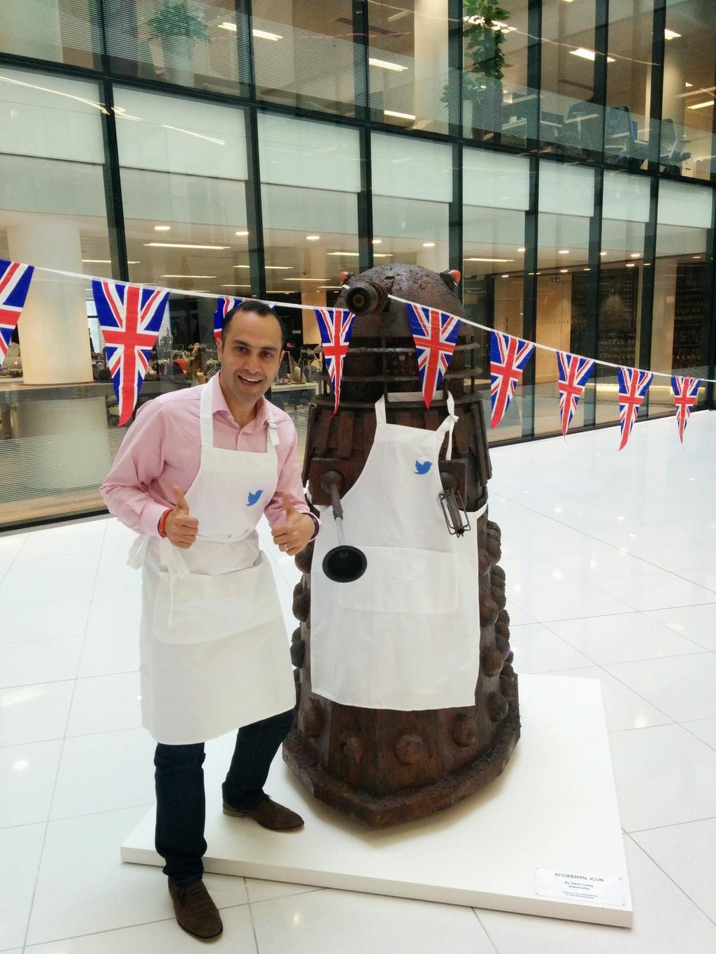 RT @brucedaisley: We had Media Week Awards judging today. The theme was #GBBO. So obviously here's @DaraNasr with a Dalek. http://t.co/KznB…