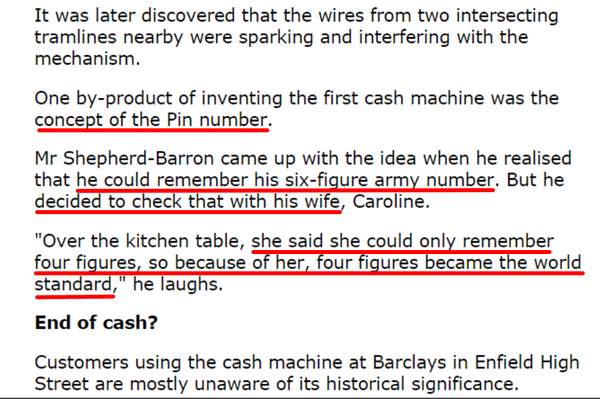 The inventor of the ATM wanted to implemen a 6-digit PIN, but his wife talked him out of it. http://t.co/INJiHfz7Qs http://t.co/Jss9KvEiXP