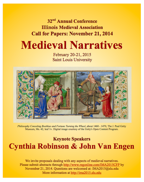 "CfP: Illinois Medieval Association on theme of ""Medieval Narratives."" Abstracts due Nov 21.  http://t.co/vQ6NVh4Xk1 http://t.co/dimNNELj3d"