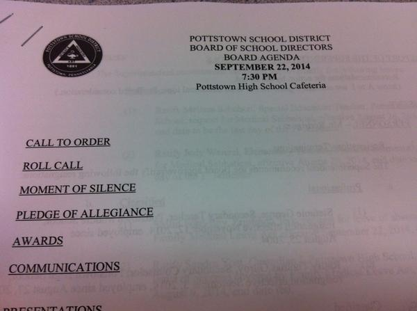 Yup, it's that time. Pottstown School Board time. We're expecting an update on Rupert tonight. http://t.co/Rjv1IScXcT