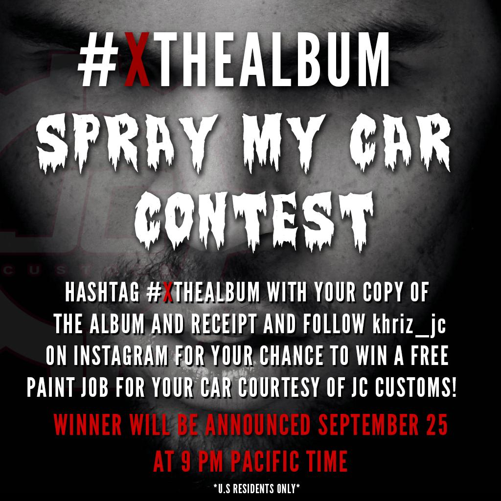 Hashtag #XTHEALBUM with your copy of X and receipt for your chance to win a free paint job courtesy of #JCCUSTOMZ http://t.co/cFmYbBo2NU