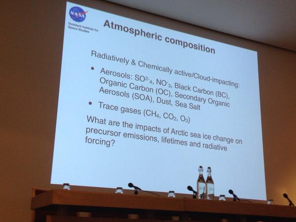 Schmidt: atmospheric composition. Results come from GISS - E2 -R #RSArctic14 http://t.co/vAaeZC6lT5