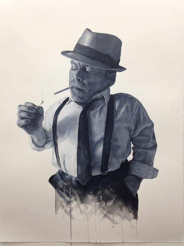 My acrylic study on paper of @WarwickADavis as Philip Marlowe, film noir detective - in prep for the main painting! http://t.co/N1rXLn61hy