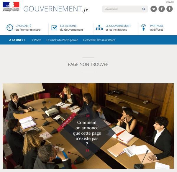 Mention très bien pour la page 404 du nouveau site gouvernement.fr ! http://t.co/zaFx9NQBF6