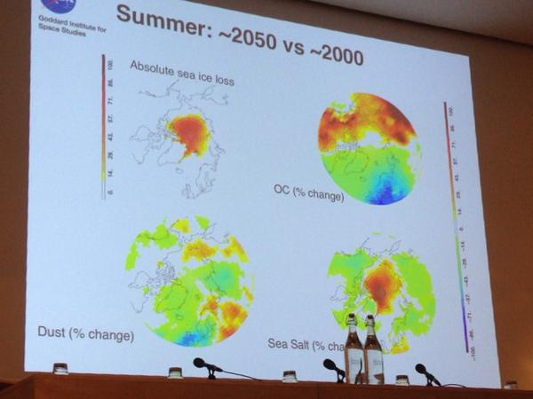 Schmidt absolute sea ice loss and organic carbon and dust, salt  #RSArctic14 http://t.co/wZAf791tjs