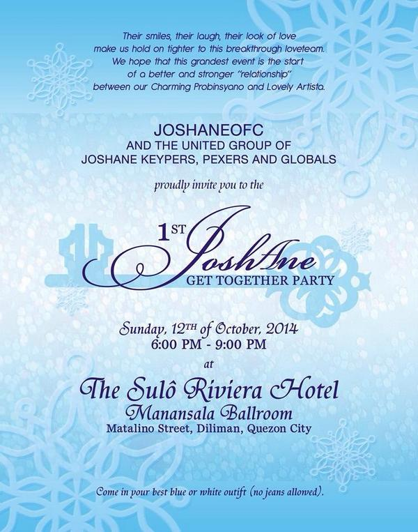 JOSHANE OFC on Twitter 1st JOSHANE Get Together Official – Invitation for a Get Together