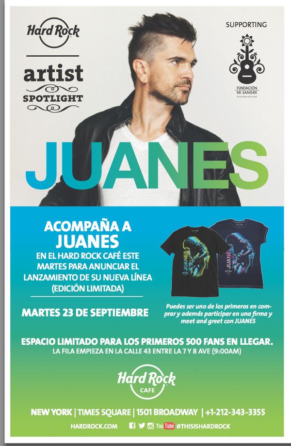 ¡En pocas horas será en lanzamiento de la nueva línea de camisetas de nuestro fundador @juanes! http://t.co/sUkHwFVub0