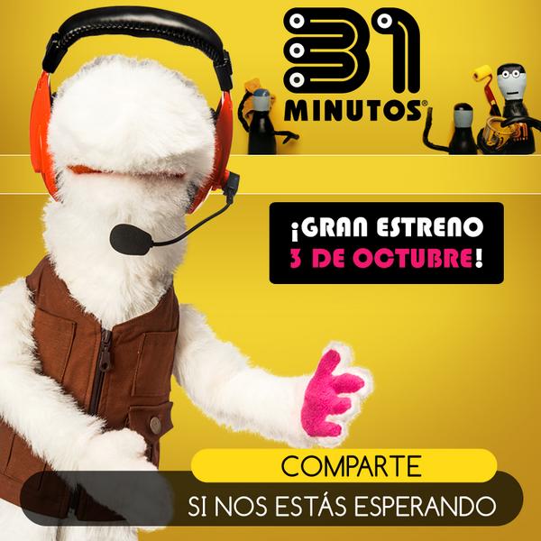 ¡Ya tenemos fecha! El viernes 3 de octubre, no te pierdas el GRAN ESTRENO de la nueva temporada de #31Minutos http://t.co/RwIPRknDPl