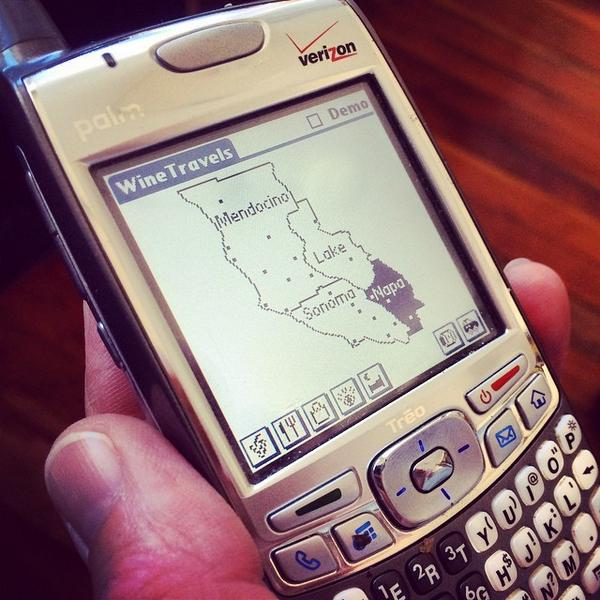 You are looking at the world's first #wine mobile app (2001) - Wine Travels on the Palm Treo by @JeffMaddux http://t.co/ZrwfO4GuRt