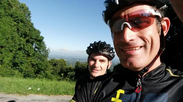 Great training ride with @JeffGordonWeb in the smoky mountains . Getting ready for the Chase . @nascar http://t.co/lRRwhXKjyD