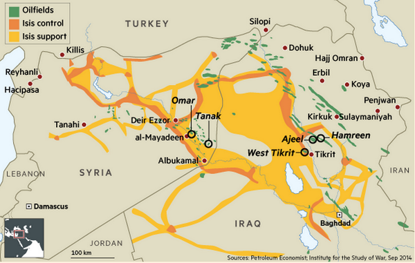 SAFE on Twitter Map of ISIS controlled oilfields across Iraq – Map of Iraqi Oil Fields